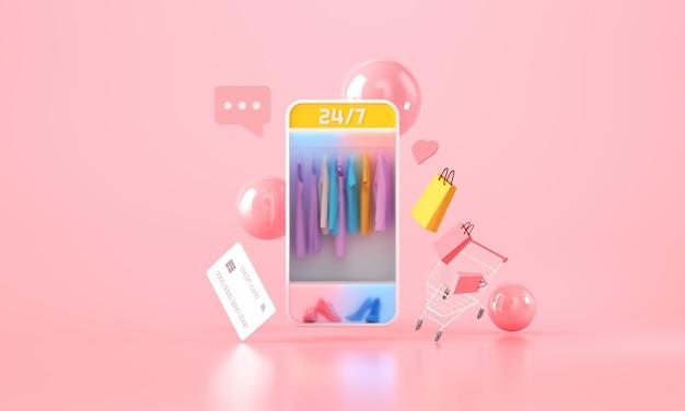 Shopping mobile online con sfondo di forma