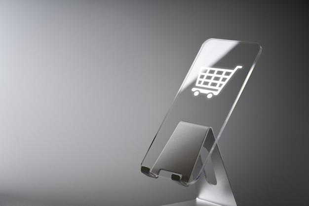 Shopping online applicazione icona aziendale su smart phone