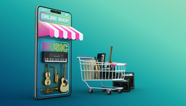 Shopping online, applicazione mobile, rendering 3d