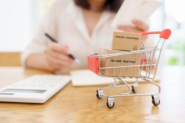 Shopping online con un servizio di consegna carrello e borse della spesa