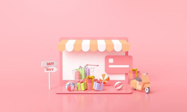 Shopping online e concetto di negozio online, servizi di consegna veloce gratuiti rendering 3d