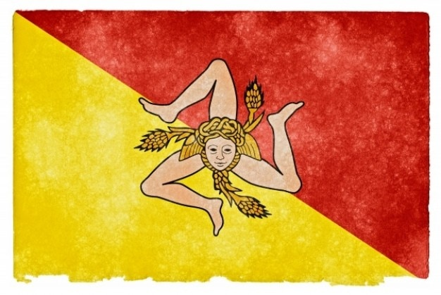 Sicilia grunge flag