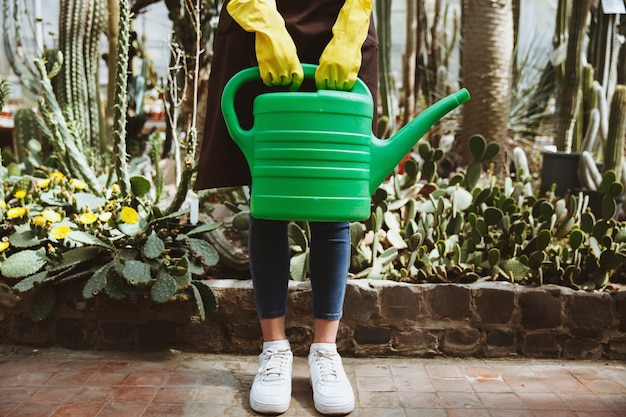 Signora che sta nella serra vicino alle piante con il vaso a mano.