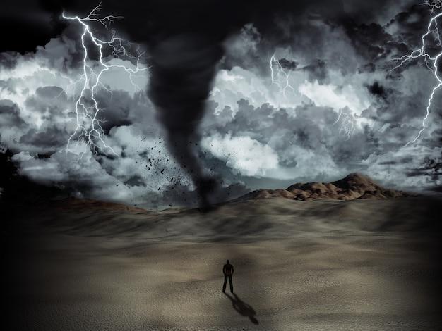 Silhouette di un uomo in piedi nel deserto nel mezzo di una tempesta con tornado e fulmini