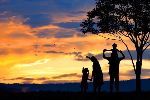 Silhouette di una felice famiglia di cinque persone, madre, padre, bambino, bambino e neonato (donne prenancy)
