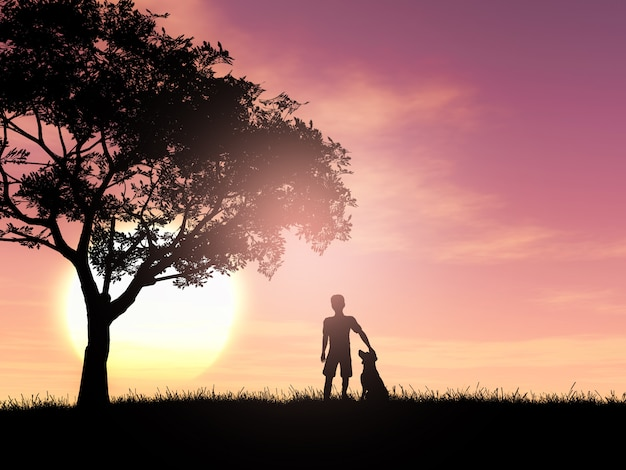 Siluetta 3d di un ragazzo e del suo cane contro un cielo al tramonto