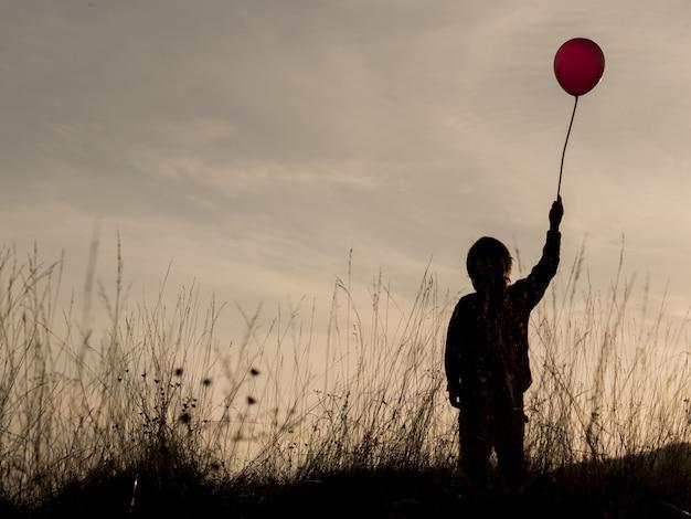 Siluetta del giovane ragazzo nel landspace al tramonto