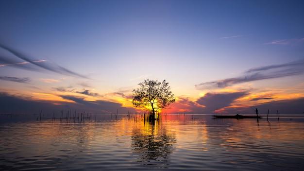 Siluetta del pescatore in barca con l'albero della mangrovia in lago su alba al villaggio di pakpra, phatthalung, tailandia