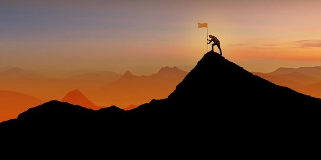 Siluetta dell'uomo che sta sulla cima della montagna sopra penombra di tramonto con il concetto della bandiera, del vincitore, di successo e di direzione