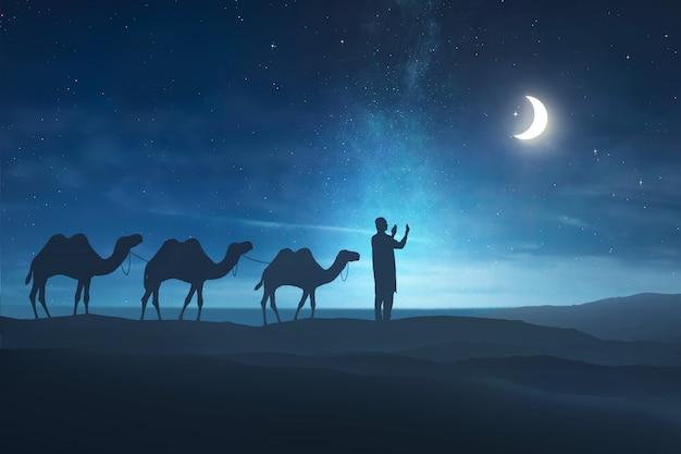 Siluetta dell'uomo musulmano che prega