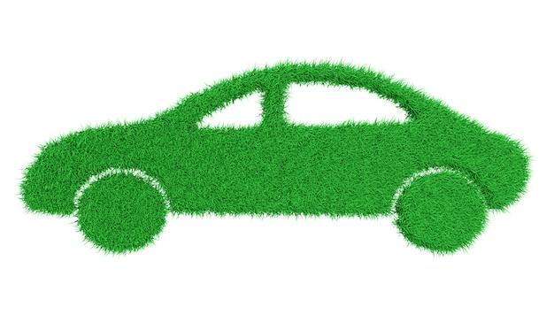 Siluetta di un'automobile invasa con erba verde