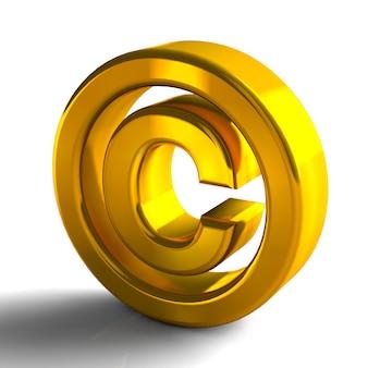 Simboli di copyright marchio 3d 3d colore oro rendering isolato su sfondo bianco