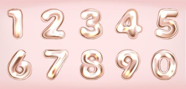 Simboli di numeri luminosi metallici rosa