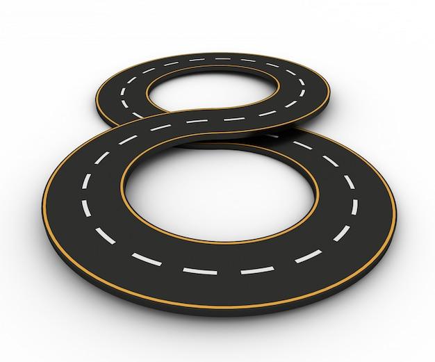 Simboli infinito sotto forma di una strada con linea bianca e gialla