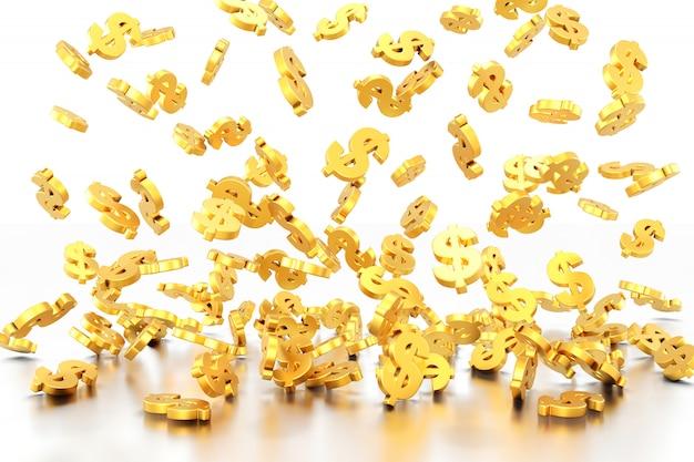 Simbolo del dollaro d'oro. rendering 3d.