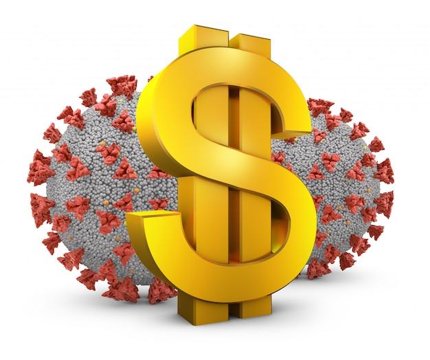 Simbolo del dollaro e coronovirus