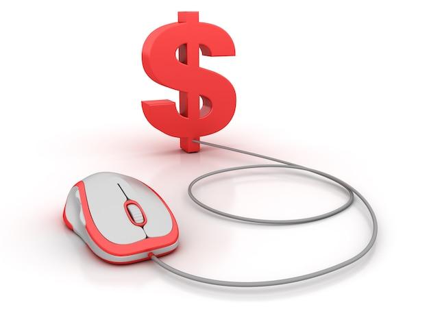 Simbolo del dollaro e mouse del computer