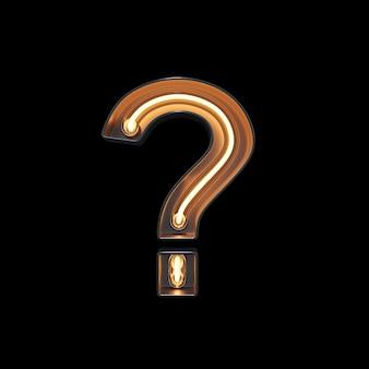 Simbolo del punto interrogativo fatto di luce al neon