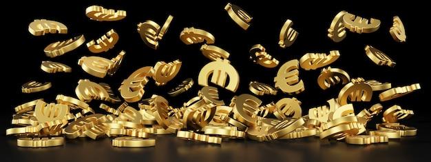 Simbolo dell'euro per banner del sito web. redering 3d.