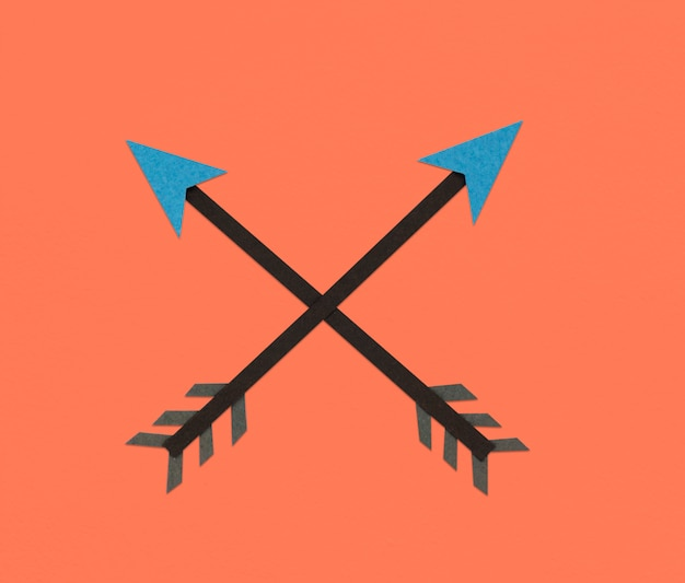 Simbolo dell'icona di direzione di tiro con l'arco freccia incrociata