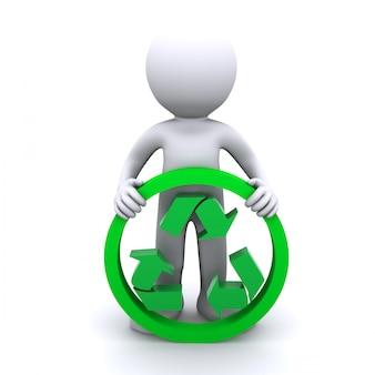 Simbolo di riciclaggio della stretta dell'uomo 3d