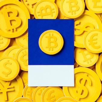 Simbolo di valuta economica bitcoin dell'oro
