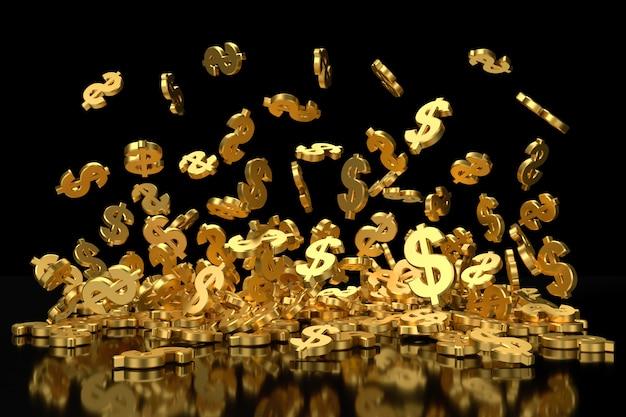 Simbolo dorato del dollaro che vola antigravità.