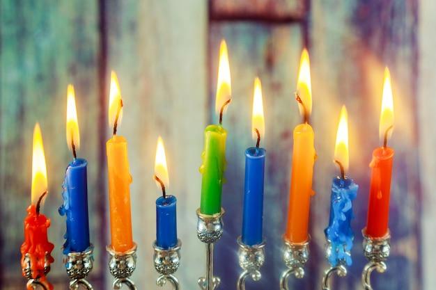 Simbolo ebraico di hanukkah, festeggia il festival delle luci