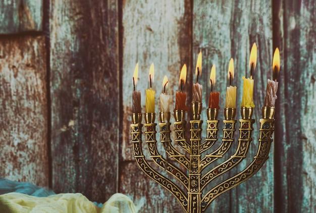 Simbolo festivo ebraico hanukkah, il festival delle luci ebraico