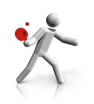 Simbolo tridimensionale del ping-pong, serie di sport olimpici