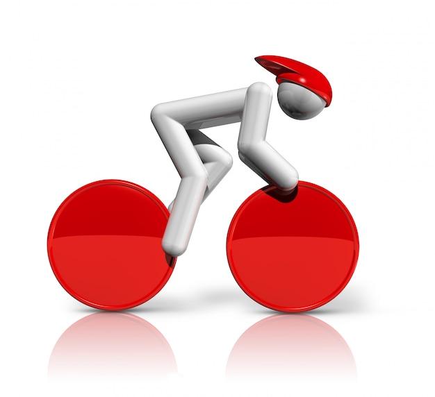 Simbolo tridimensionale della pista ciclabile, serie di sport olimpici