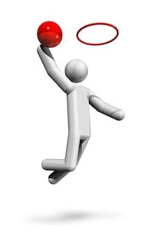 Simbolo tridimensionale di pallacanestro, serie di sport olimpici