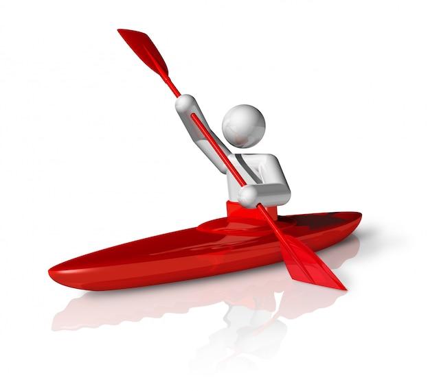 Simbolo tridimensionale di slalom della canoa, serie di sport olimpici