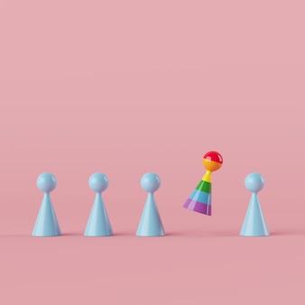 Simbolo umano di concetto creativo minimo, oggetto eccezionale di colore dell'arcobaleno che galleggia con la rappresentazione blu dell'oggetto 3d di colore