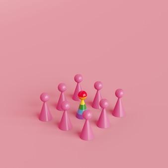 Simbolo umano di concetto creativo minimo, oggetto eccezionale di colore dell'arcobaleno con l'oggetto di colore rosa, rappresentazione 3d
