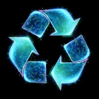 Simbolo verde di riciclaggio di eco. il concetto di terra pulita, smaltimento dei rifiuti. illustrazione 3d, rendering 3d.