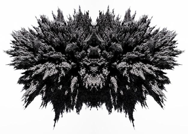 Simmetria in metallo magnetico rasatura su sfondo bianco