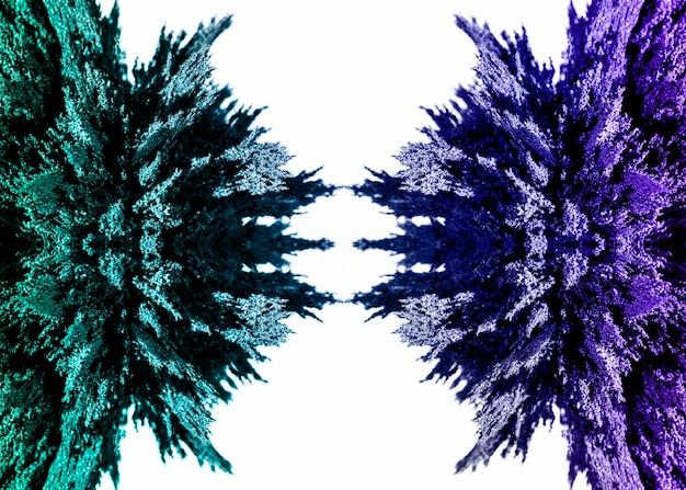 Simmetrico disegno di rasatura in metallo magnetico verde e viola su sfondo bianco