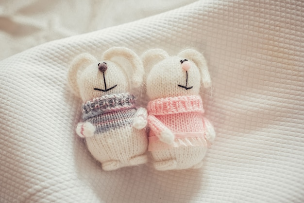 Simpatici coniglietti a maglia
