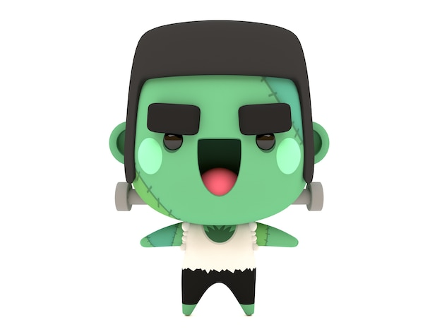 Simpatico personaggio 3d halloween frankenstein in kawaii