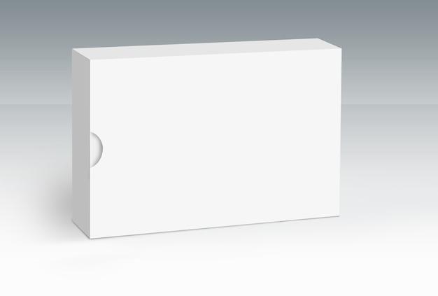 Singola scatola bianca su serie di concetti di terra