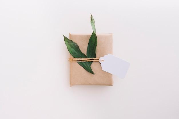 Singolo contenitore di regalo avvolto marrone legato con l'etichetta e foglie su fondo bianco