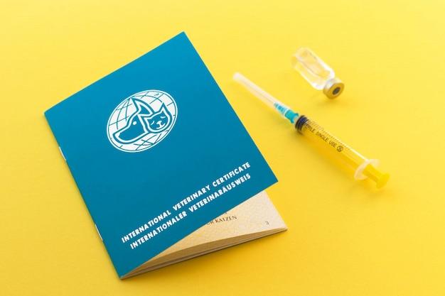 Siringa, flaconcino di vetro con passaporto liquido e animale per indicare le vaccinazioni e il numero di microchip. certificato veterinario internazionale