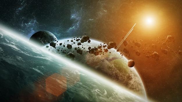 Sistema a pianeta distante nello spazio rendering 3d