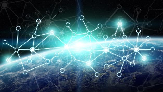 Sistema di connessioni e scambi di dati sul rendering 3d del pianeta terra