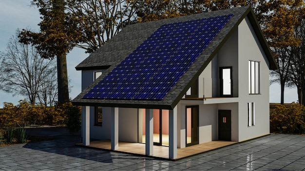 Sistema di energia solare 3d con pannelli solari fotovoltaici sul tetto della casa. rendering 3d.