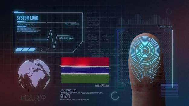 Sistema di identificazione biometrico a scansione di impronte digitali. la nazionalità gambia