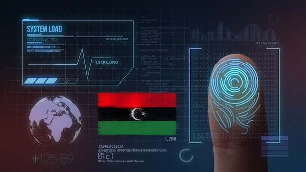 Sistema di identificazione biometrico a scansione di impronte digitali. libia nazionalità