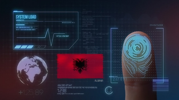 Sistema di identificazione biometrico a scansione di impronte digitali. nazionalità albanese