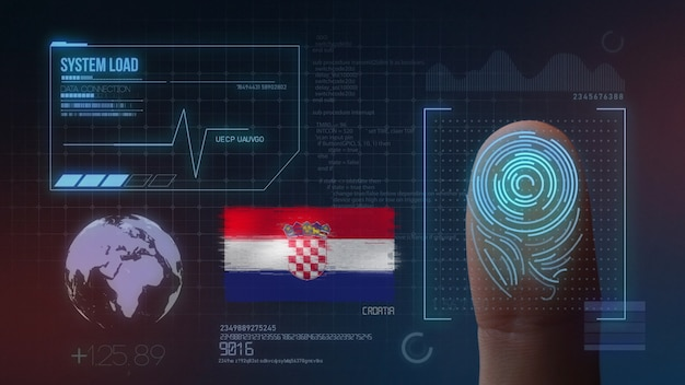 Sistema di identificazione biometrico a scansione di impronte digitali. nazionalità croata